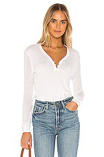 Splendid Collection Cashmere Blend Henley Sweater in Heather White