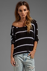 French Riveria Stripe Loose Knit in Black/White