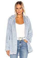Splendid Faux Fur Sleep Jacket in Celestial Blue & Snow Plaid