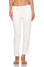 Terry With Lattice Trim Pant in Pearl