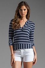 Double French Stripe Tee in Navy