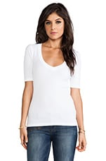 1x1 V Neck in White