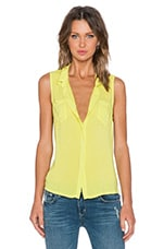 Rayon Voile Button Up Tank in Tennis