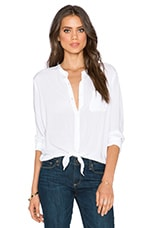 Rayon Voile Long Sleeve Top in White