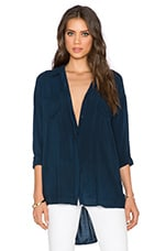 Rayon Voile Button Up Top in Navy