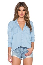 Rayon Voile Button Up Top en Délavage léger