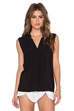 Rayon Voile V Neck Top en Noir