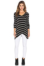 Canvas Double Stripe Oversized Top en Noir & Blanc