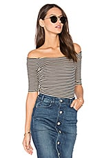 Off Shoulder Rib Top in Almond Stripe