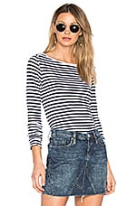 Splendid French Stripe Long Sleeve Tee in White & Navy