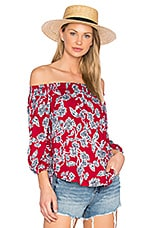 Etched Floral Blouse in Beet Red