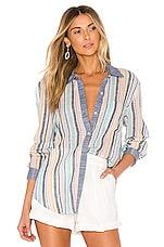 Splendid x Gray Malin Stripe Button Down Top in Playa Stripe