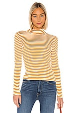 Splendid Wyatt Stripe Tee in Off White & Dijon