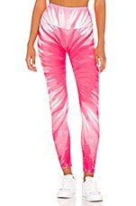 Splits59 Bardot 7/8 High Waist Tight in Pink Tie Dye