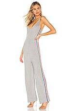 Spiritual Gangster x Madeleine Thompson Stripe Jumpsuit in Medium Heather Grey