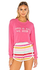 Spiritual Gangster We Need Crew Neck Savasana Pullover in Azalea