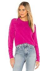Spiritual Gangster Madeline Cozy Crew Sweater in Fuchsia