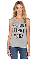 Spiritual Gangster But First Yoga Muscle Tank in Heather Grey