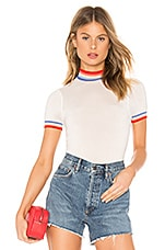 Spiritual Gangster Rainbow Stripe Crop Sweater Tee in Stone