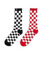 Stussy Checker Sock Pack in Black & Red