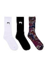 Stussy Stock Crew & Tie Dye Marl Socks in Black & White & Blue & Orange