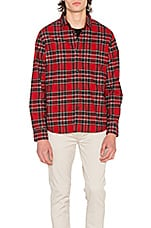 Double Brush Flannel Button Down in Red