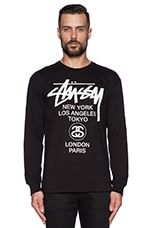 Stussy World Tour L/S Tee in Black