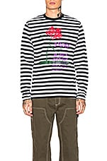Stussy Flower Stripe Long Sleeve Crew in Black