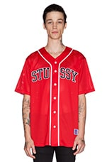 Stussy Mesh Baseball Jersey in Red