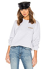 Stussy Ivy League Embroidered Crew Sweatshirt in Ash Heather