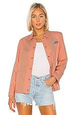 Stussy Etta Striped Coach Jacket in Peach