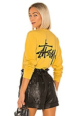 Stussy Basic Logo Long Sleeve in Mustard