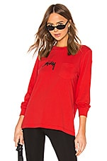 Stussy Myles Pocket Long Sleeve Tee in Red