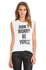 STYLESTALKER Don't Worry Be Yonce Muscle Tank in White