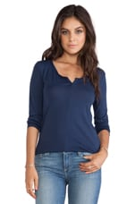 Long Sleeve Half Button Tee in Navy