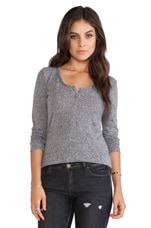 Long Sleeve Half Button Tee in Heather Gray