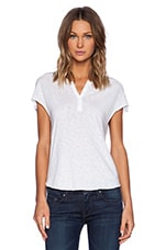 Short Sleeve Henley in White