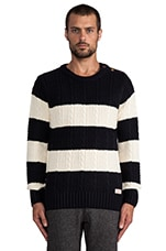 Structured Monsanto Pullover in Navy/Off White