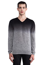 All Over Print V Neck Sweater in Grey