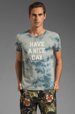 Have a Nice Day Tee in Blue Tie Dye