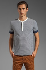 Short Sleeve Stripe Henley in Navy