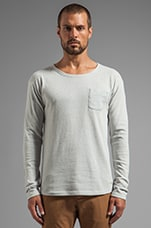 Recycled Denim Long Sleeve Crew Tee in White