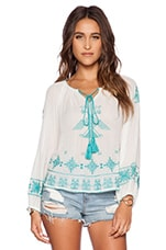 Lipi Embroidered Top en Écru & Turquoise