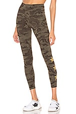 STRUT-THIS Star Ankle Legging in Green Camo & Gold