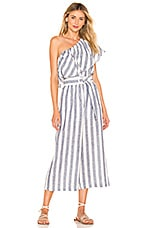 Suboo Newport One Shoulder Cropped Jumpsuit in Navy Stripe