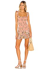Sun Becomes Her Bodhi Mini Dress in Pink Watercolor Rose