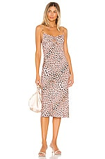 Sun Becomes Her Corset Midi Dress in Pink Cheetah