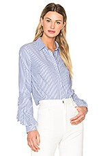 Ruffle Sleeve Button Down Shirt in Striped Shirting