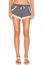 Fringe Trim Shorts in Navy Shark Tooth & Natural