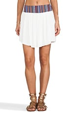 Tribal Waistband Gauze Skirt in White